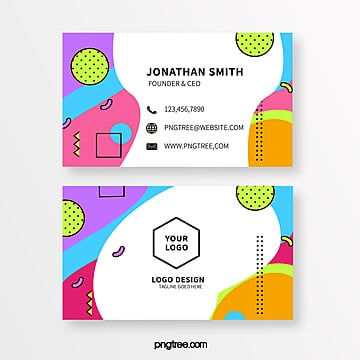 simple colored memphis style business card Template