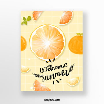 small fresh yellow chequered orange fruit card Template