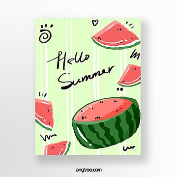 summer watermelon hand painted cards Template