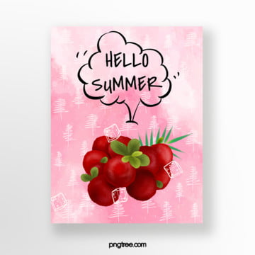 watercolor pink bayberry summer card Template