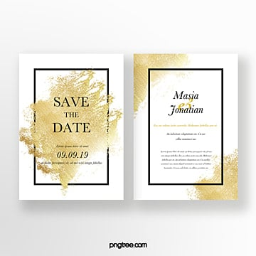 golden broken gold foil wedding invitation Template