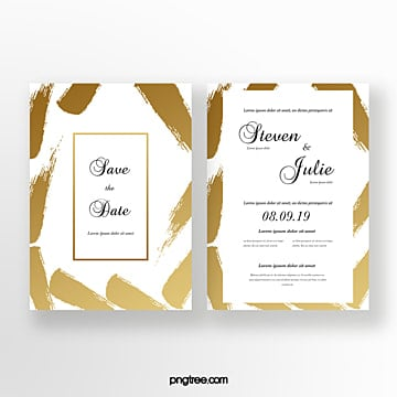 golden ink typography wedding invitation Template