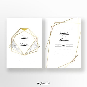 Gold geometric line wedding invitation Template