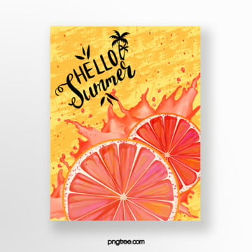 yellow summer grapefruit card Template