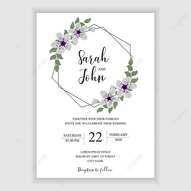 Simple Wedding Invitation Template With Purple Sakura Cherry