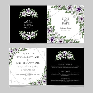folded floral wedding invitation template with sakura cherry blossom decoration Template