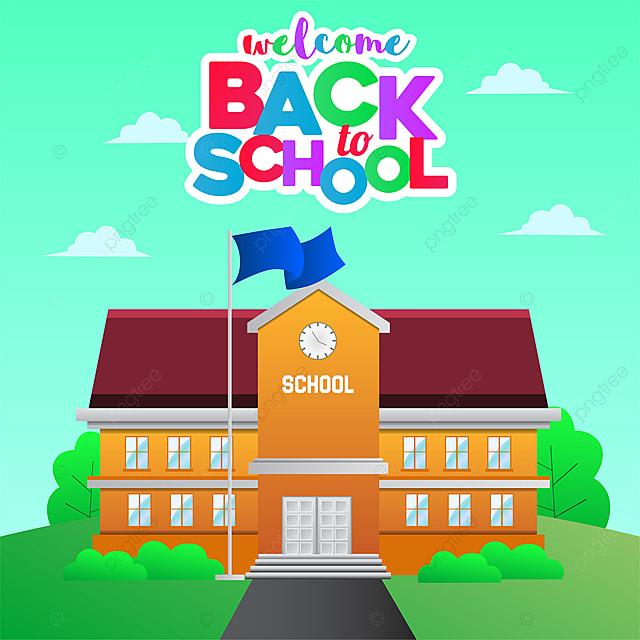 De Volta A Escola Com Estilo De Desenho Animado Da Escola Colorido
