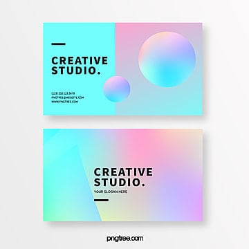fashion holographic gradual creative style business card Template