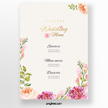 hand painted flower border warm wedding menu template Template