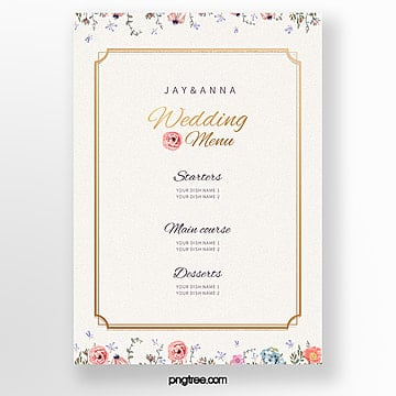 light pigment elegant flower border wedding menu template Template