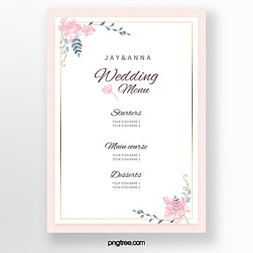 pink elegant wedding menu template Template