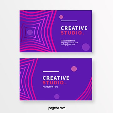 purple line creative business card design Template
