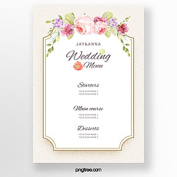 simple light color warm wedding menu template Template