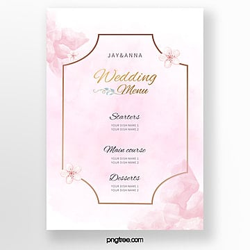 simple pink warm wedding menu template Template