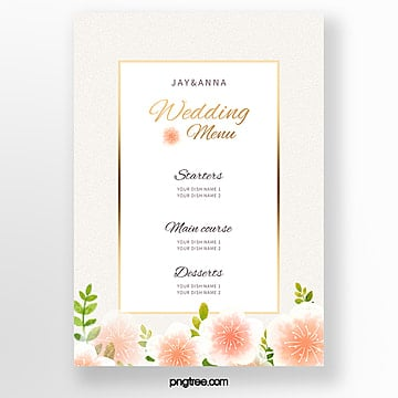simple warm lace wedding menu template Template