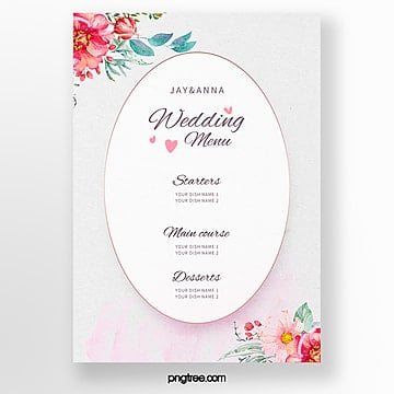 warm and elegant flower border wedding menu template Template