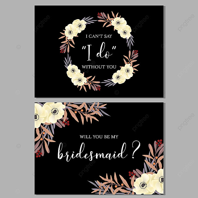 Floral Wedding Bridesmaid Greeting Card For Invitation With