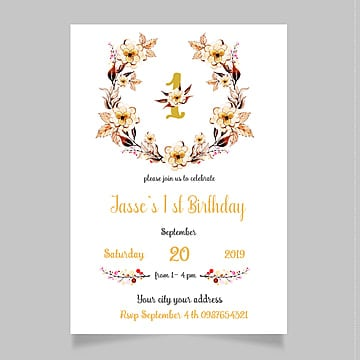 1st Birthday Invitation Png Vector PSD And Clipart With