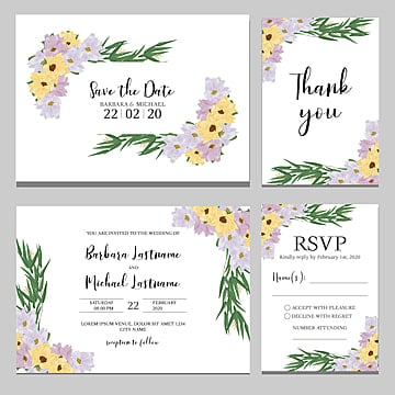 anemone floral bouquet wedding invitation card template wedding menu Template