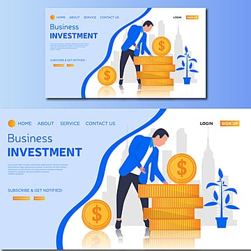 business investment isometric vector landing page illustration Template