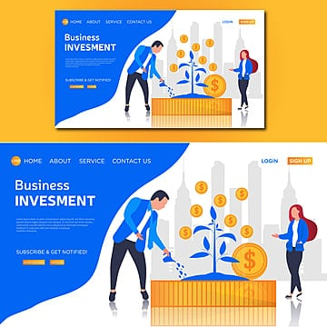 business investment vector landing page illustration Template
