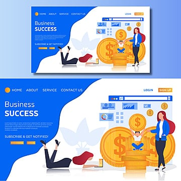 business success vector landing page illustration Template