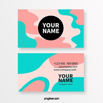 colored memphis fluid gradient bright shape abstract business card Template