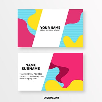 colour geometric fluid patterns memphis abstract business card Template