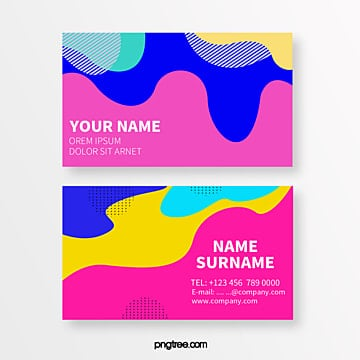 colourful and bright liquid geometry memphis abstract business card Template