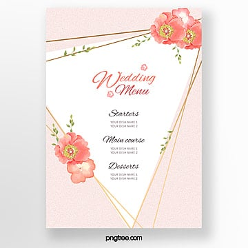 coral color series simple and warm wedding menu template Template