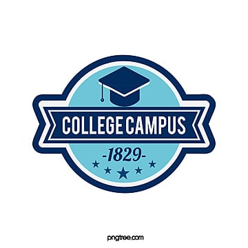 creative label blue university education logo Template