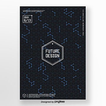 creative posters with cool isometric pattern vectors Template