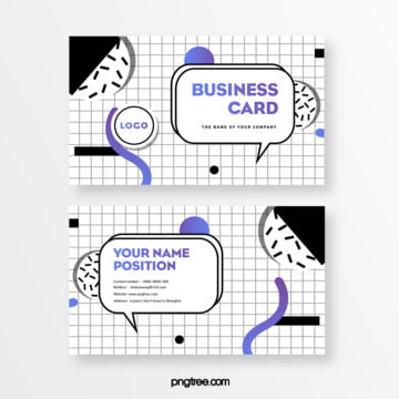 fashion simple black and white gradual change memphis business card Template