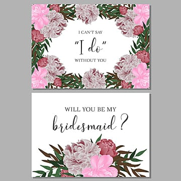 Tropical Wedding Bridesmaid Greeting Card With Hibiscus And