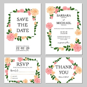 floral rose bouquet wedding invitation card template Template