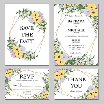 floral wedding invitation set template with yellow and purple flower bouquet Template