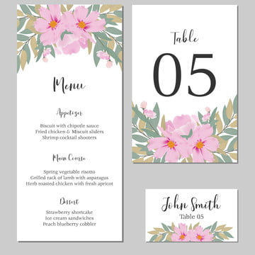 floral wedding menu table number template card with cosmos flower bouquet Template