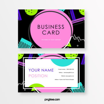 fresh and fashionable black background color memphis business card Template