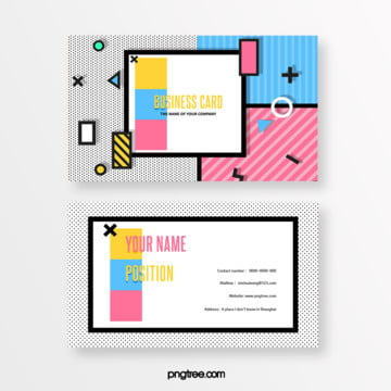 fresh and lovely blue and pink color memphis business card Template