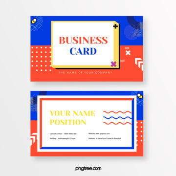 fresh fashionable blue orange collision color memphis square business card Template