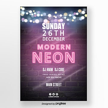 neon effect element party dark brick wall poster Template