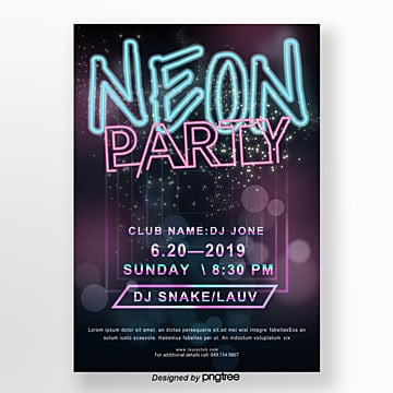 neon light effect element party poster Template