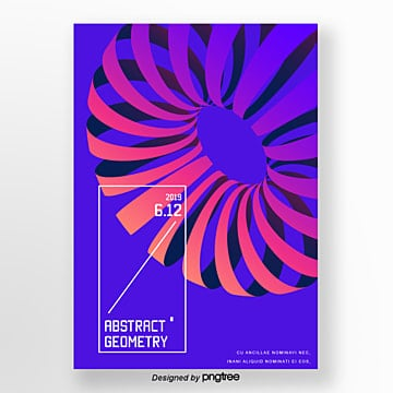 purple geometric ring hollow out graphic trend poster Template
