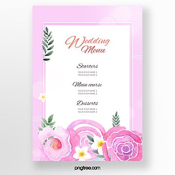 warm wedding menu template with pink and purple flowers Template