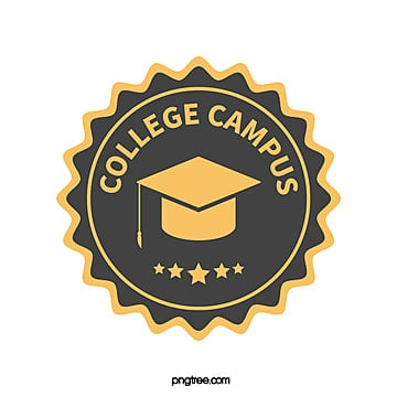 yellow black circular university education badge logo Template