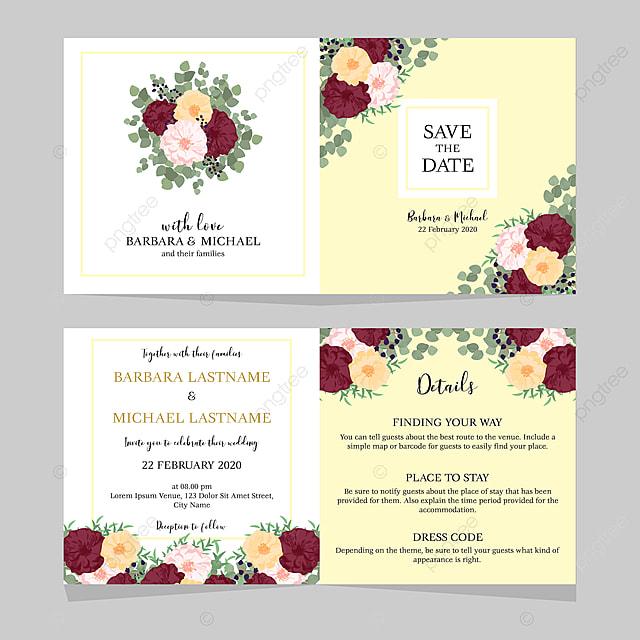 Floral Folded Wedding Invitation Card Template Wedding Menu