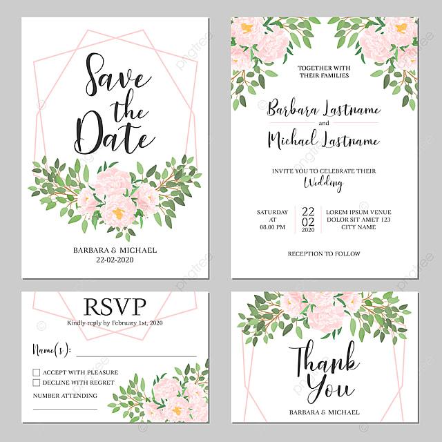 Menu Perkahwinan Templat Kad Jemputan Perkahwinan Bunga Merah