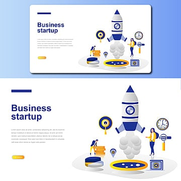 business startup vector landing page illustration Template