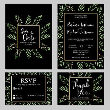 floral rustic wedding invitation card template Template