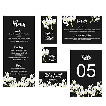floral wedding stationary card template with orchid flower decoration wedding menu Template